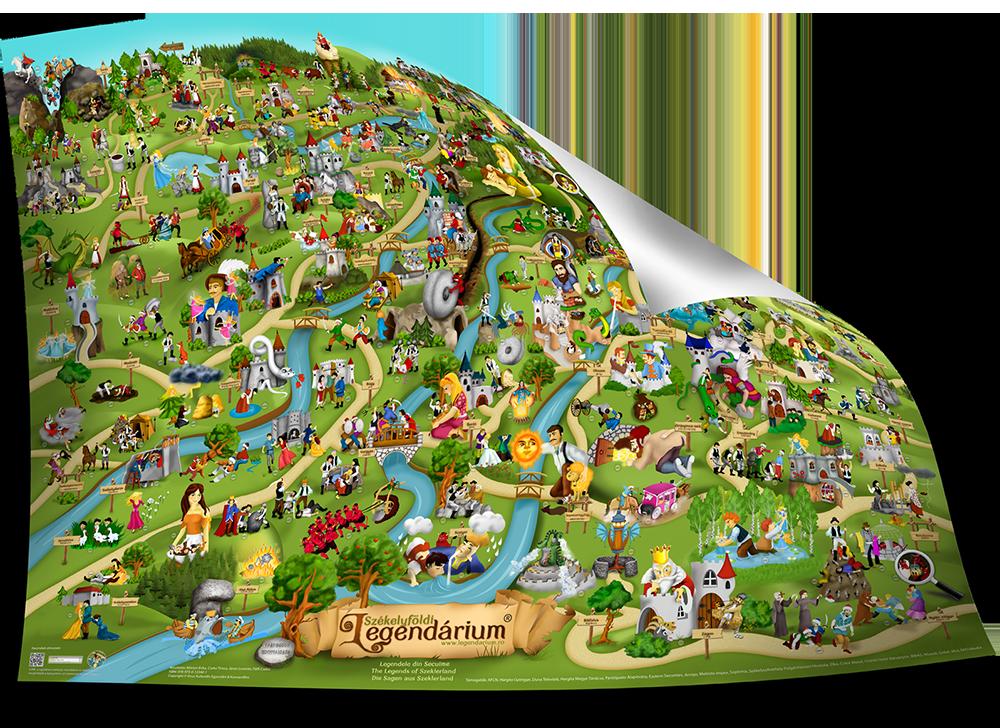 Nagyméretű Székelyföldi Legendárium térkép